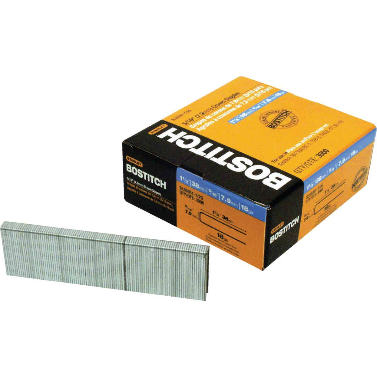 Bostitch 18-Gauge 5/16 In. x 1-1/2 In. Pneumatic Cap Staples (3000 Ct.) Image 1